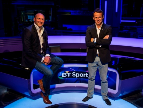 Ben Kay and Austin Healey settle into their new home on the rugby desk in the BT Sport studio Credit: BT Sport