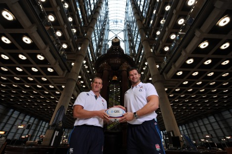 Lancaster and Farrell launch the QBE Internationals in front of the Lutine Bell at Lloyds of London