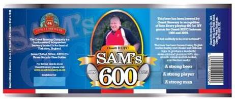 The SAM's 600 bottle label