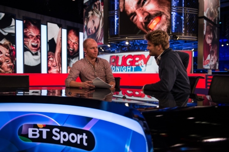 Loaded's Scott Walker (left) and yours truly take to the Rugby Tonight presenting desk
