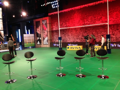 BT Sport's unique LED under-lit, in-studio rugby pitch