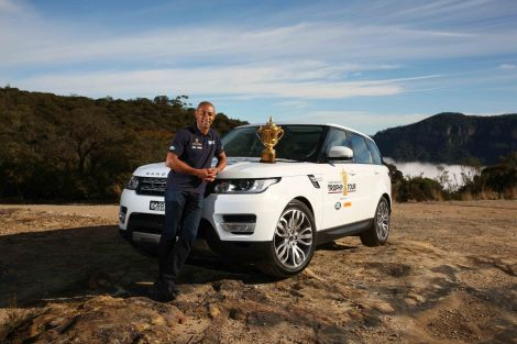 Gregan poses in the Blue Mountains with the Webb Ellis Cup
